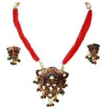 Colourful Design Meenakari Sexy Brass Necklace Set 134