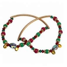 Alluring Red Green Royal Ethnic Brass Payal Anklet 110