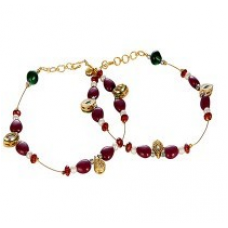 Maroon n Golden Unique Ethnic Brass Payal Anklet 128