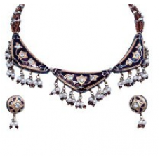 Fashionable Brown Shining Necklace Earrings Set 135