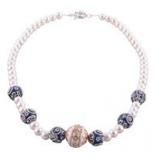 Fine Hand Carved Blue n White Fancy Pearl Necklace 223