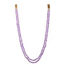 Amethyst Stones Dual Line Round Beaded Necklace 253