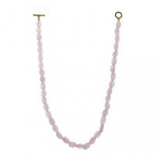Charming Rose Quartz Crystal Oval Beaded Necklace 260