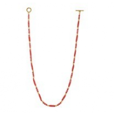 Fancy Twisted Pipes n Round Golden Beaded Necklace 272