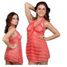 Amazing Hot Coral Frock Style Ladies Nightwear 512