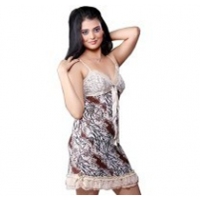 Floral Brown Beige Sensuous Frilly Night Frock 578