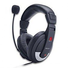 iBall Over Ear Wired Headphones With Mic Black