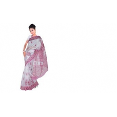 All Over Pink Floral Design White Kota Doria Saree 256